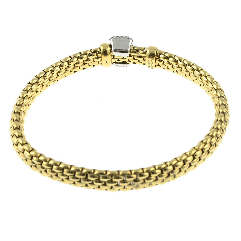 An 18ct gold 'Flexit' bracelet, by Fope, with pavé-set diamond slide. - Image 3 of 3