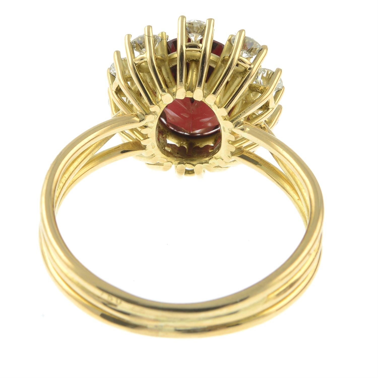 A garnet and brilliant-cut diamond cluster ring, attributed to Erwin Springbrunn. - Image 4 of 6