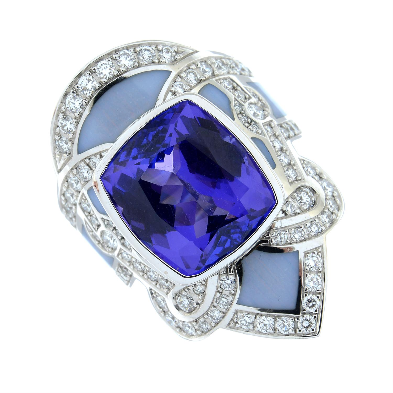 A tanzanite, brilliant-cut diamond and enamel ring. - Image 2 of 6
