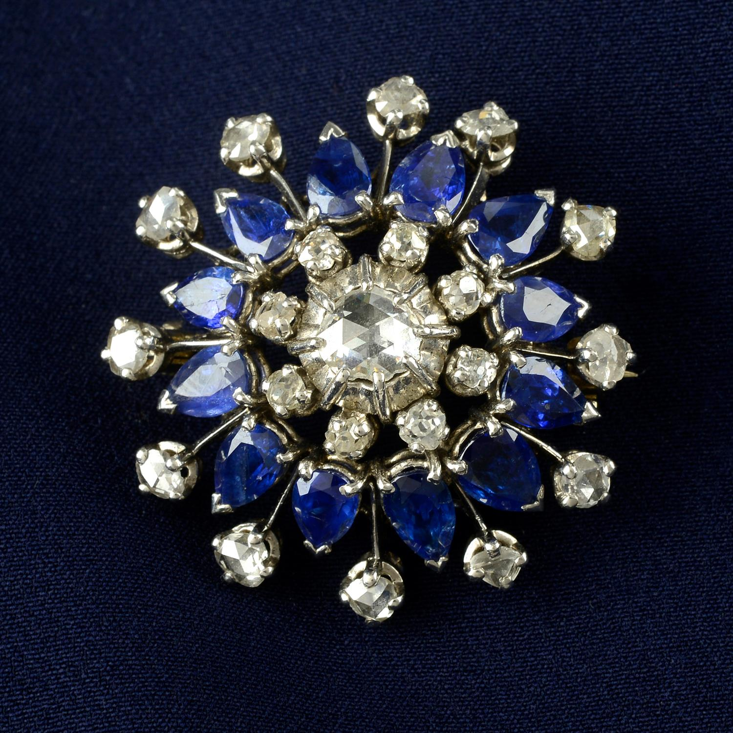 A rose and old-cut diamond and sapphire floral cluster brooch.
