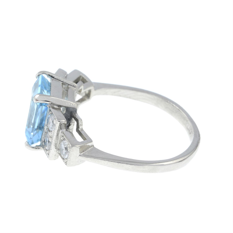 An aquamarine and brilliant-cut diamond dress ring. - Image 3 of 6