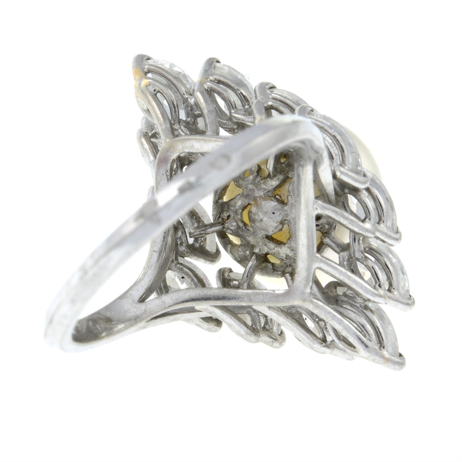 A cultured pearl and marquise-shape diamond cocktail ring. - Image 5 of 6