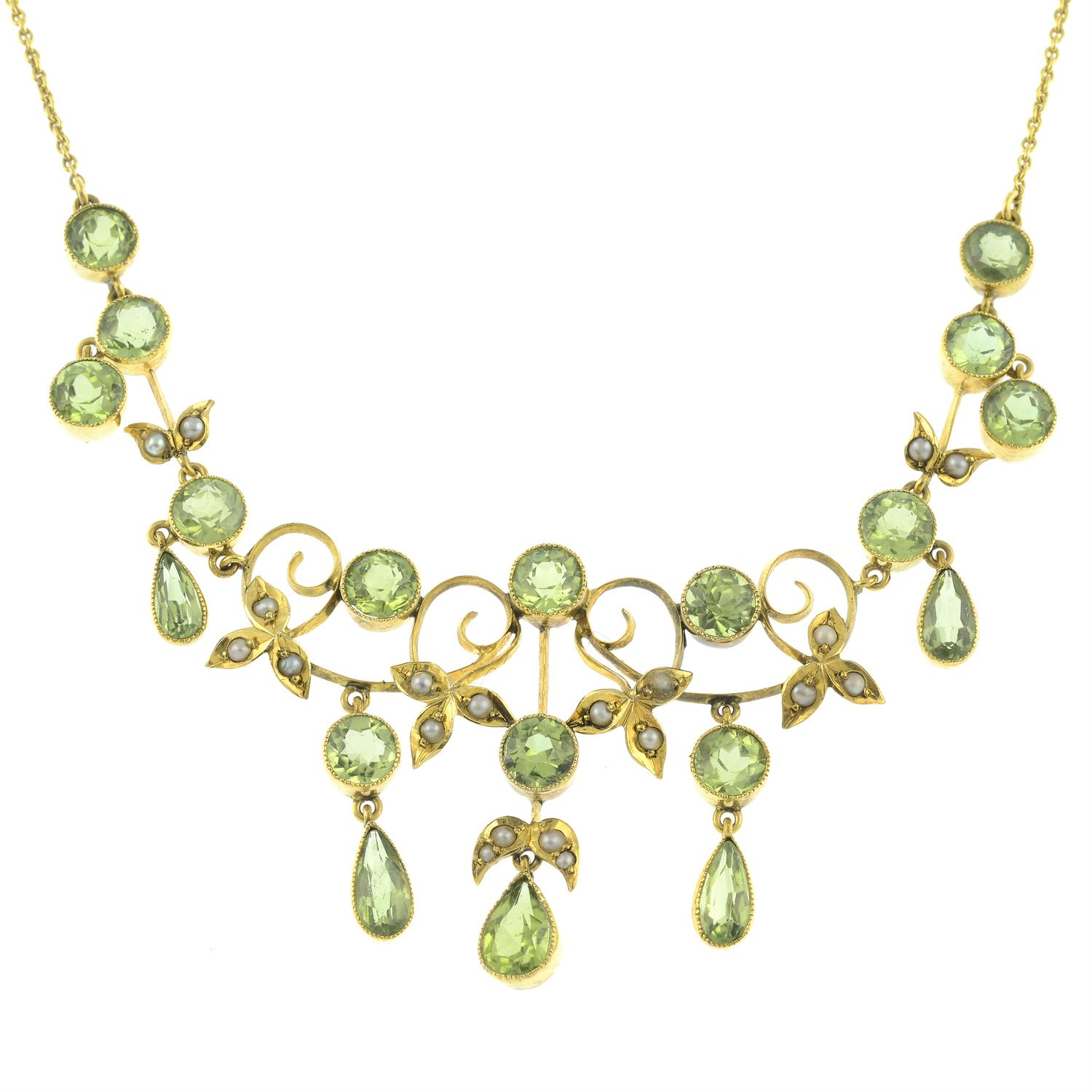 An early 20th century 9ct gold peridot and split pearl fringe necklace. - Image 2 of 5