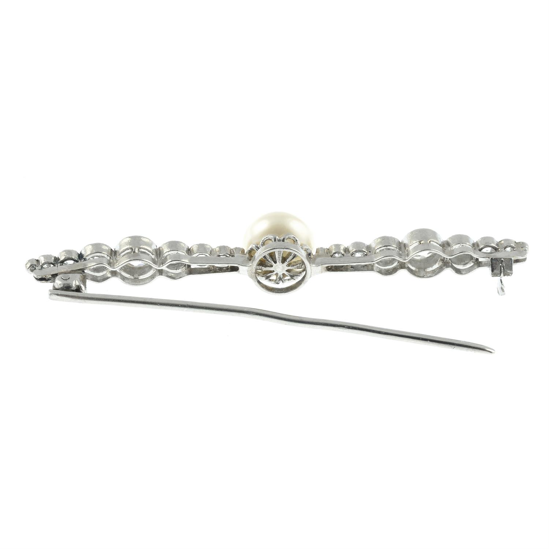 An Art Deco platinum, pearl and graduated circular-cut diamond bar brooch. - Image 3 of 4
