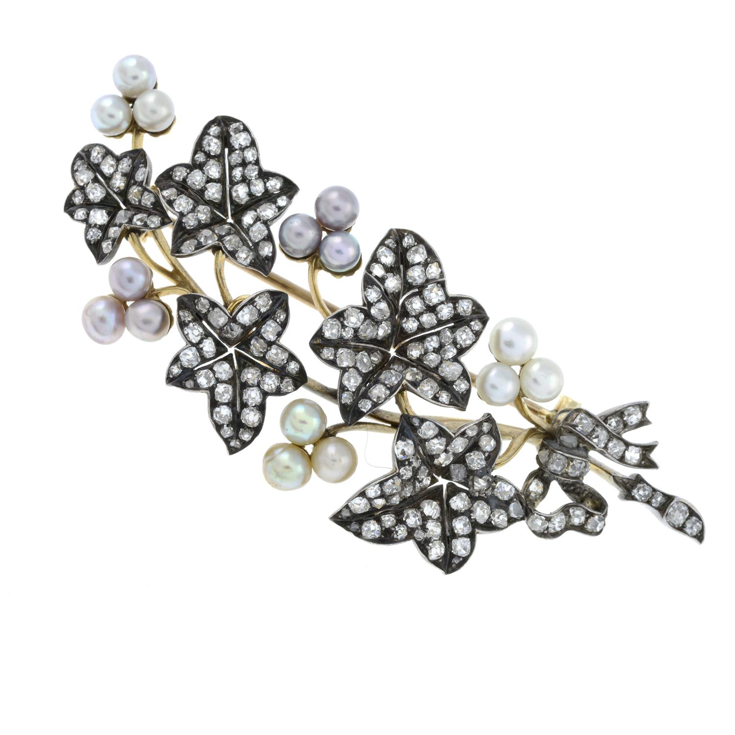 A late Victorian silver and gold, old-cut diamond and vari-hue pearl ivy sprig brooch. - Image 2 of 5
