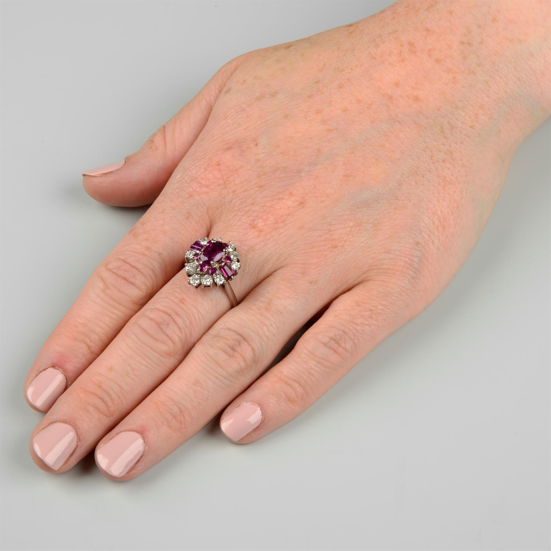A vari-cut ruby and brilliant-cut diamond dress ring. - Image 6 of 6