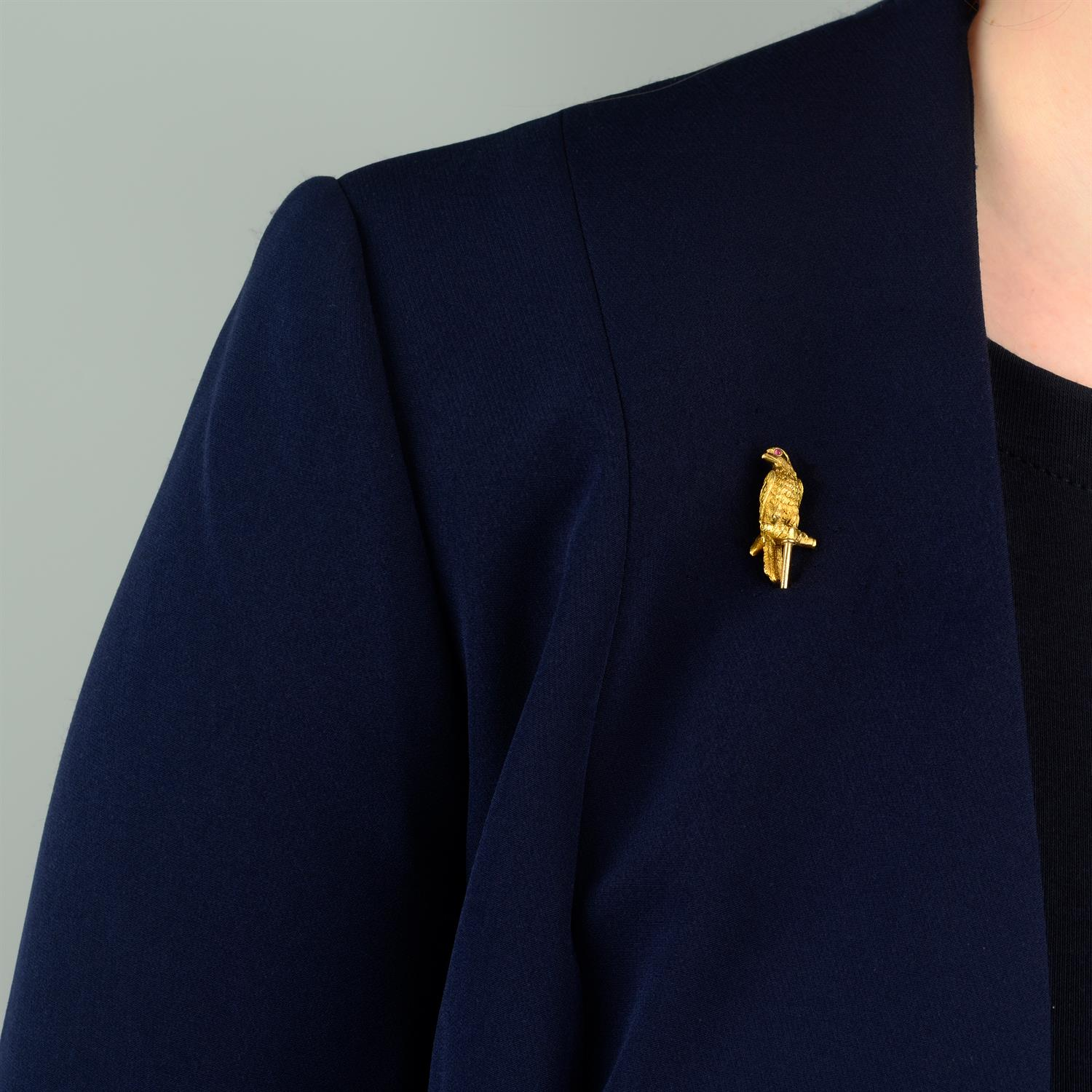 A late Victorian 18ct gold falcon stickpin, with ruby eyes. - Image 5 of 5