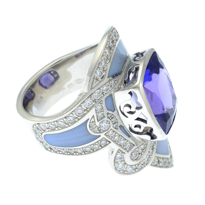 A tanzanite, brilliant-cut diamond and enamel ring. - Image 4 of 6