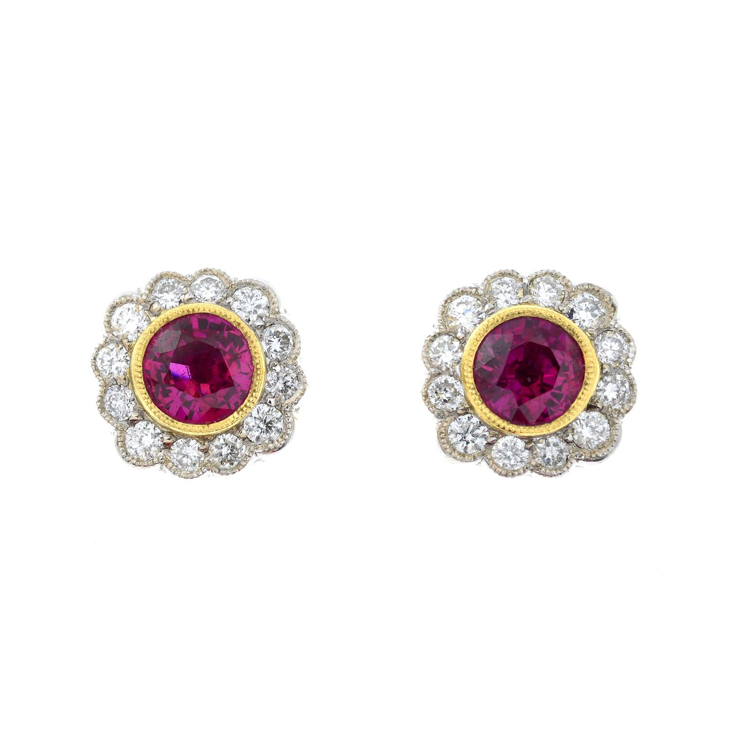 A pair of 18ct gold ruby and diamond floral cluster earrings. - Image 2 of 4