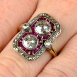 An Art Deco silver and 18ct gold, diamond and synthetic ruby ring.