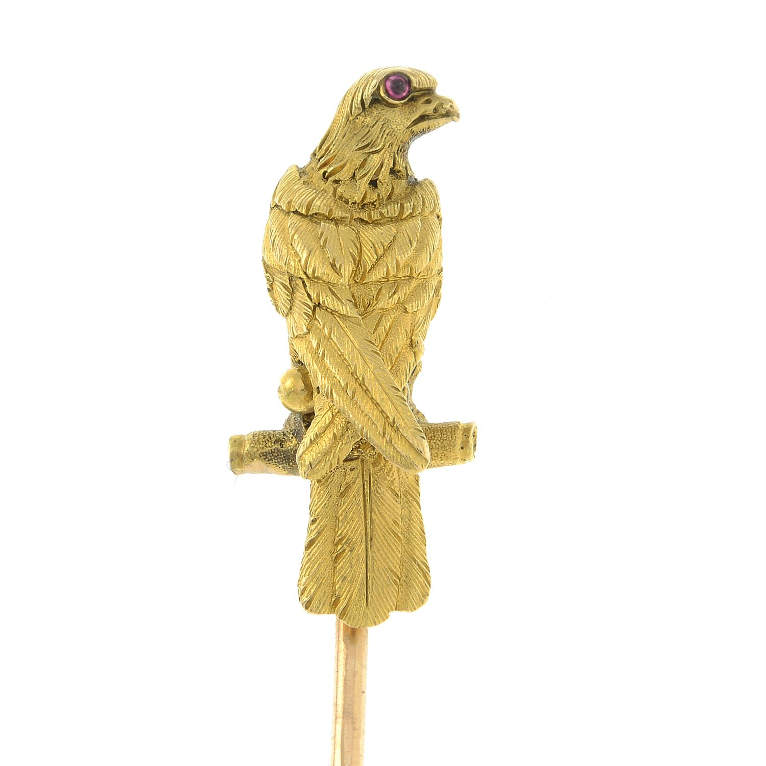A late Victorian 18ct gold falcon stickpin, with ruby eyes. - Image 2 of 5