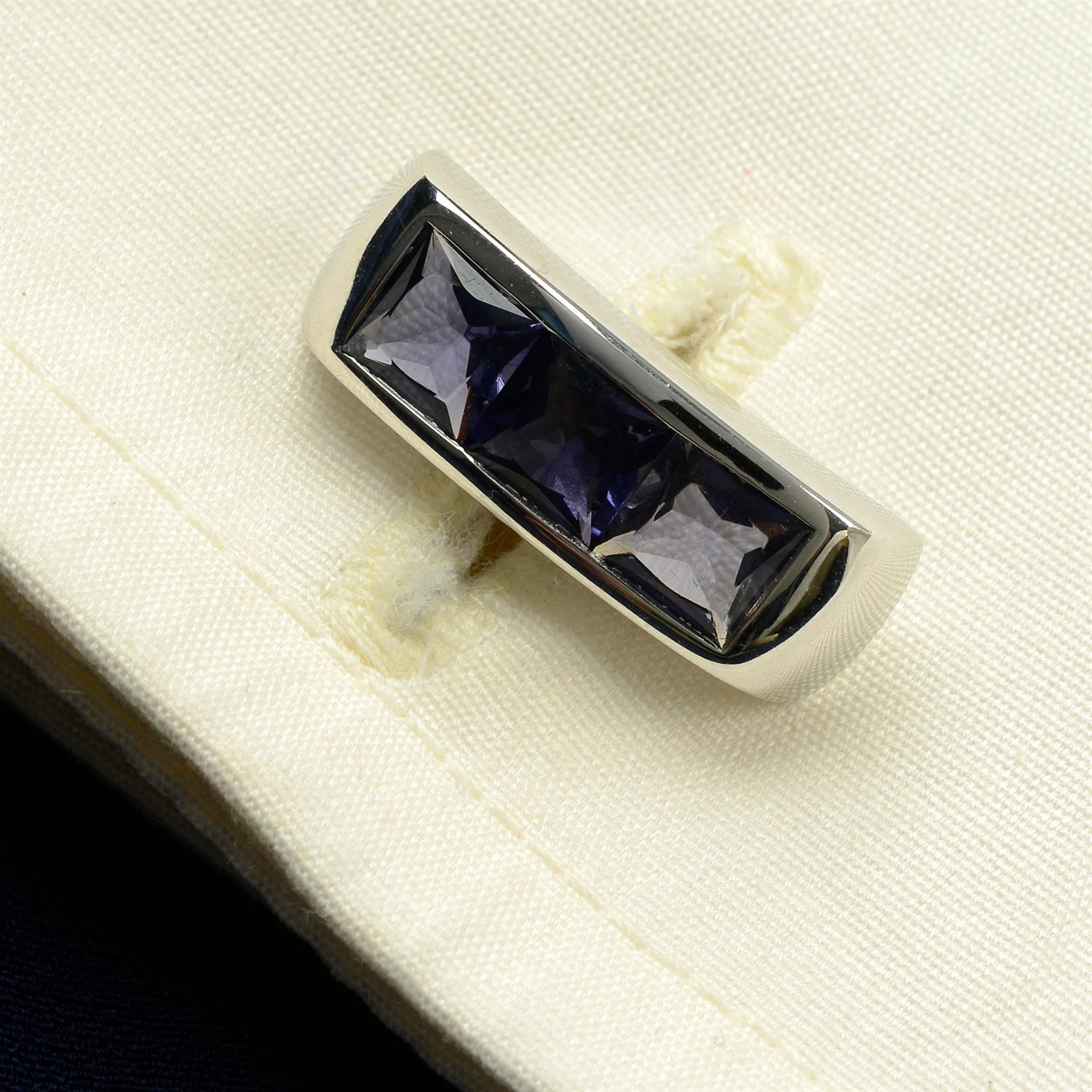 A pair of 18ct gold iolite cufflinks, by Ritz Fine Jewellery.