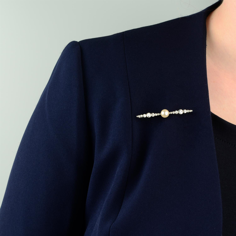 An Art Deco platinum, pearl and graduated circular-cut diamond bar brooch. - Image 4 of 4