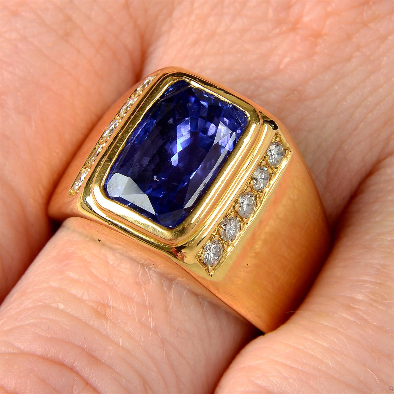 A Sri Lankan colour-change sapphire and brilliant-cut diamond ring.