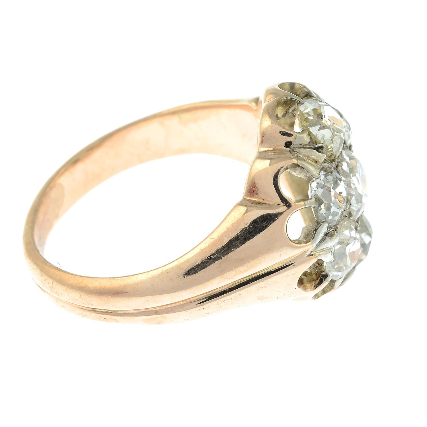 An early 20th century 9ct gold old-cut diamond cluster ring. - Image 4 of 6