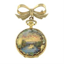A mid 20th century 18ct gold enamel pocket watch, suspended from a 9ct gold bow brooch.