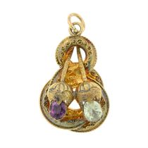 A late 19th century gold garnet and chrysoberyl cannetille pendant.