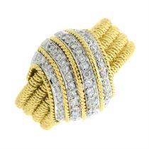 An 18ct gold briliant-cut diamond dress ring.