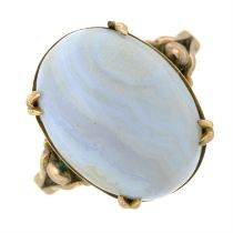 An early 20th century banded agate dress ring.