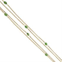 An early 20th century 9ct goold nephrite and seed pearl chain.