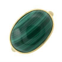 A 9ct gold malachite dress ring.