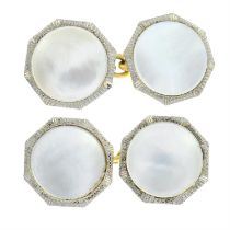 A pair of early 20th century 18ct gold mother-of-pearl cufflinks