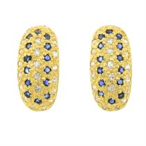 A pair of sapphire and colourless paste earrings.