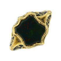 A mid Victorian 18ct gold bloodstone and enamel mourning ring.