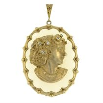 A 1970's 9ct gold chalcedony and single-cut diamond pendant, depicting a lady in profile.