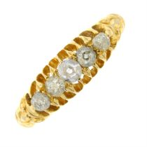 An Edwardian 18ct gold old-cut diamond five-stone ring.