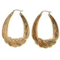 A pair of 9ct gold hoop earrings.