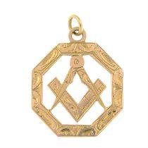 An early 20th century 9ct gold openwork masonic pendant.