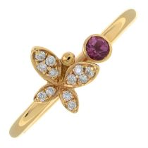 An 18ct gold pink tourmaline and pave-set diamond butterfly ring.