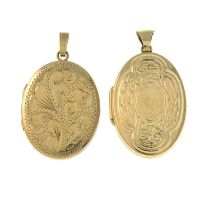 Two 9ct gold oval-shape lockets.