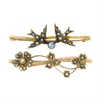 Two mid 20th century split pearl bar brooches.