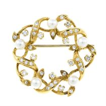 A mid 20th century 18ct gold cultured pearl and diamond brooch, by Cropp & Farr.