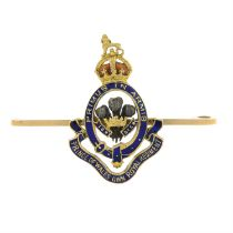 An early 20th century 15ct gold enamel Prince of Wales Royal Regiment brooch.