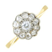 An early 20th century 18ct gold and platinum old-cut diamond cluster ring.