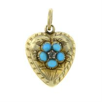 A late 19th century gold turquoise heart-shape memorial locket.