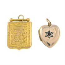 Two early 20th century gold locket pendants.