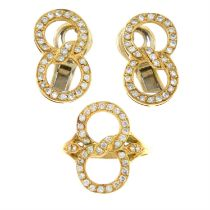 A set of brilliant-cut diamond jewellery, comprising a 14ct gold ring and a pair of matching