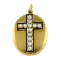 A late 19th century gold split pearl and enamel cross locket pendant.