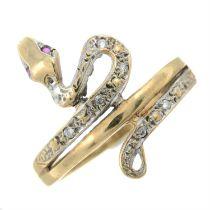 A 9ct gold gem-set snake ring.