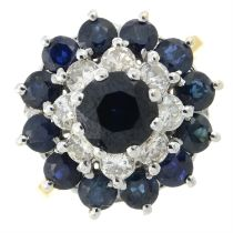A 1970s 18ct gold sapphire and circular-cut diamond cluster dress ring.