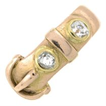 An early 20th century old-cut diamond buckle and belt ring.