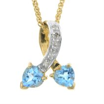 A 9ct gold blue topaz and diamond pendant, with 9ct gold chain.