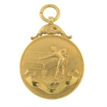An early 20th century 9ct gold snooker winner's medallion, inscribed 'Neville Francis Fitzgerald