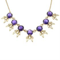A 9ct gold amethyst necklace.