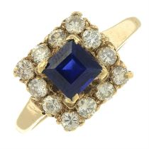 A 1960s 9ct gold diamond and synthetic sapphire cluster ring.