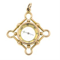 An early 20th century 9ct gold compass fob.